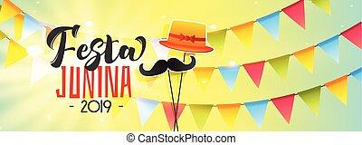bannière, junina, 2019, festa, célébration