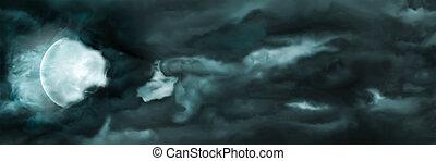 bannière, lune, nuages, ciel nuit