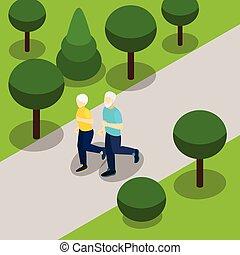bannière, manière vivre active, retraite, isométrique