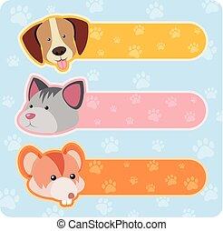 bannière, mignon, conceptions, animaux, trois