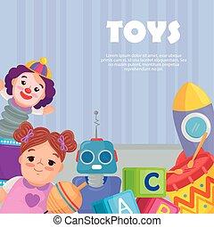 bannière, mignon, gosses, jouets
