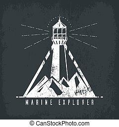 bannière, montagnes, phare, vieux