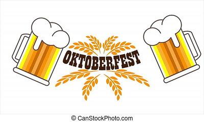 bannière, oktoberfest, festival, bière