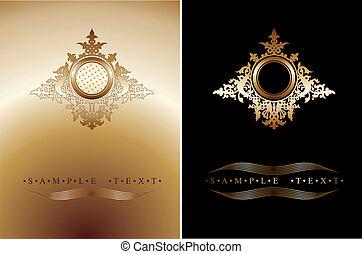 bannière, or, orné