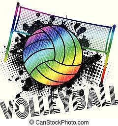 bannière, ou, boule volleyball, eclabousse, affiche