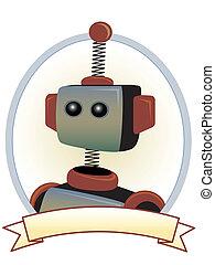 bannière, ovale, étiquette, produit, robot