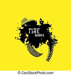 bannière, pas, pneu, marques