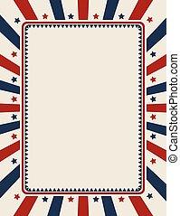 bannière, patriotique, vendange, américain