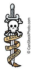 bannière, pirate, crâne, épée