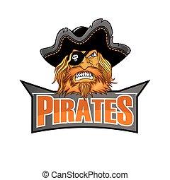 bannière, pirates, coloré