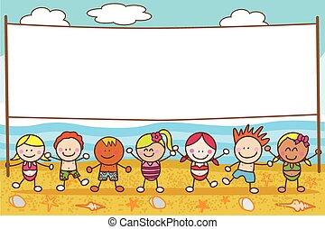 bannière, plage, enfants