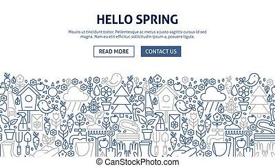 bannière, printemps, conception, bonjour