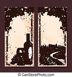 bannière, retro, établissement vinicole