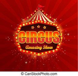 bannière, retro, frame., ampoules, cirque, lumière