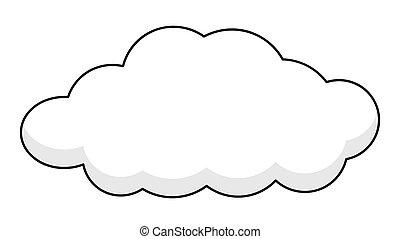 bannière, retro, nuage