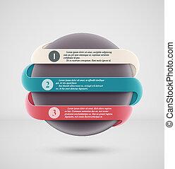 bannière, rond, infographics