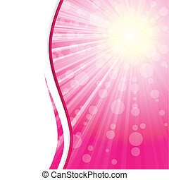 bannière, rose, soleil