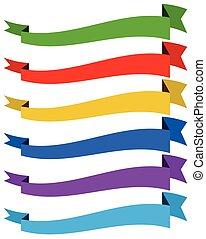 bannière, /, ruban, gabarits, dans, dynamique, style., 6, colors.