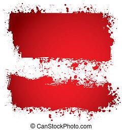bannière, sanguine, rouges, encre