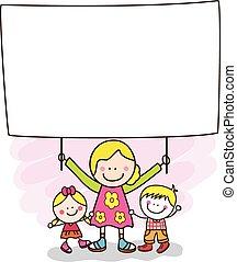 bannière, tenue, mère