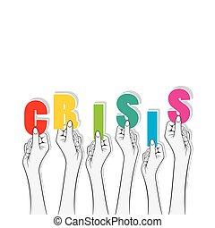 bannière, texte, conception, crise