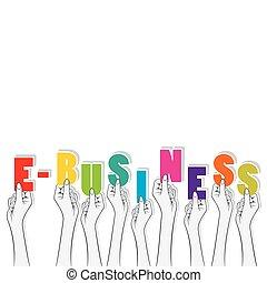 bannière, texte, conception, e-affaires