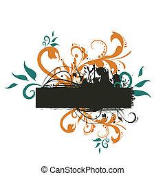 bannière, texte, résumé, ton, fond, floral