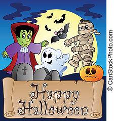 bannière, thème, halloween, 4, heureux