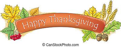 bannière, thanksgiving, heureux