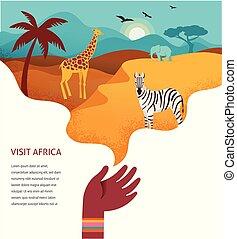 bannière, tribal, afrique, animaux, illustration, symboles, vecteur, safari