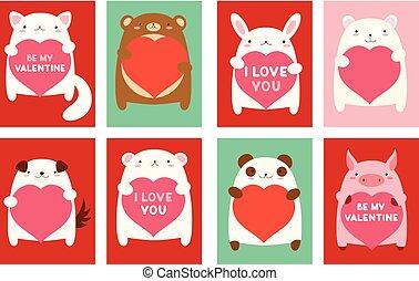 bannière, valentin, animaux, mignon
