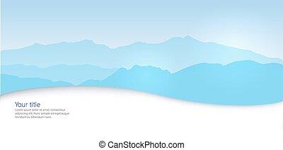 bannière, vecteur, silhouette, hiver, canigou