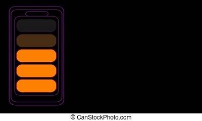 bannière, vertical, arc-en-ciel, chargeur, batterie, ligne temps, changement, couleur, quand, annoncer