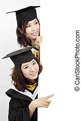 bannière, vide, groupe, tenue, diplômés