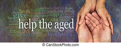 bannière, vieilli, aide, campagne