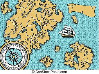 bannière, vieux, map., nautique