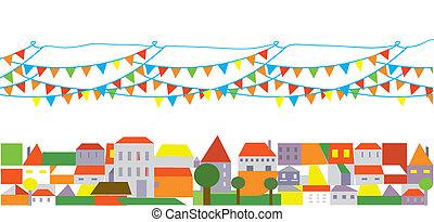 bannière, ville, drapeaux, fond, fetes