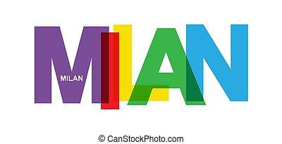 bannière, ville, italie, nom, milan.