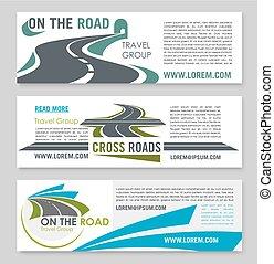 bannière, voyage, conception, gabarit, tourisme, route