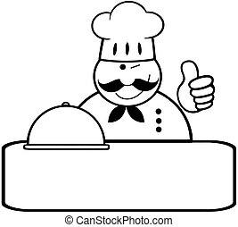 bannière, winked, chef cuistot, esquissé, logo