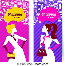 bannières, à, silhouette, de, achats, femmes