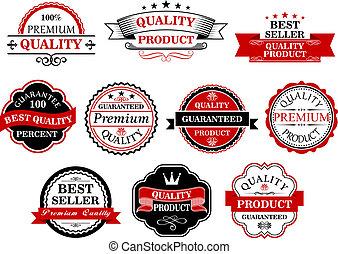 bannières, étiquettes, retro, business, vente au détail