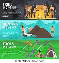 bannières, évolution, âge, pierre, homme cavernes