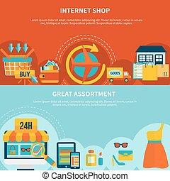 bannières, achats, coloré, internet
