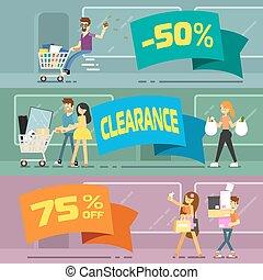 bannières, achats, vente, gens