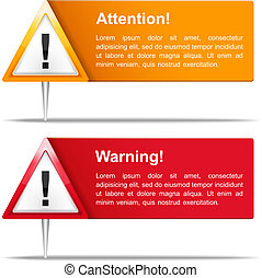 bannières, attention, avertissement