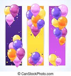 bannières, ballons, coloré, vertical