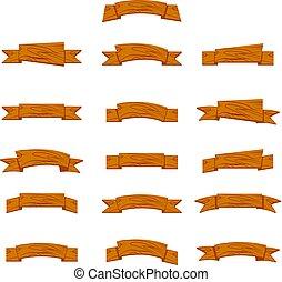 bannières, bois, rubans, dessin animé