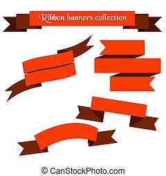 bannières, collection, rubans, orange, retro