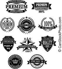 bannières, conception, insignes, garantie